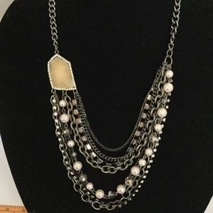 Multi Strand Silver Tone Statement Necklace